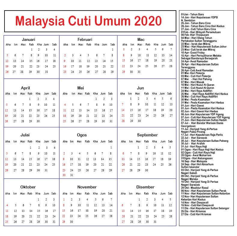 2020 Cuti Umum Malaysia