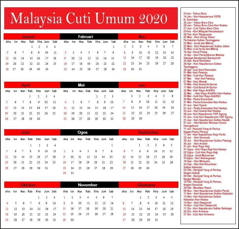 2020 Malaysia Cuti Umum 2020