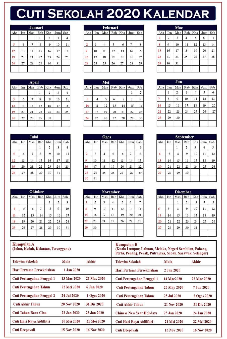 Cuti Sekolah Kalendar
