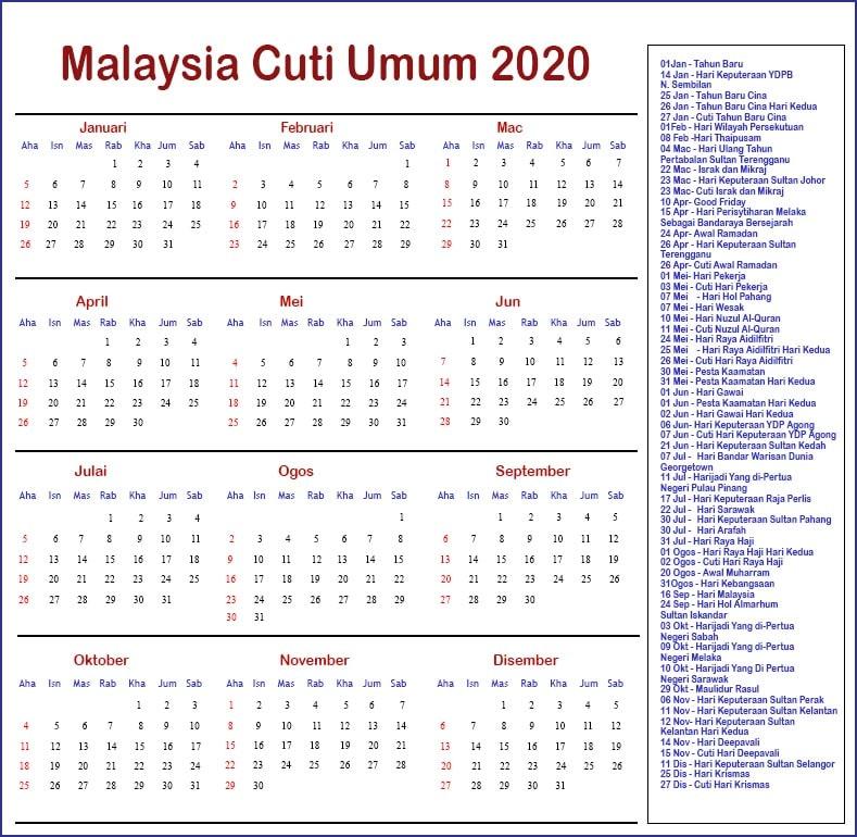 Malaysia Cuti Umum 2020