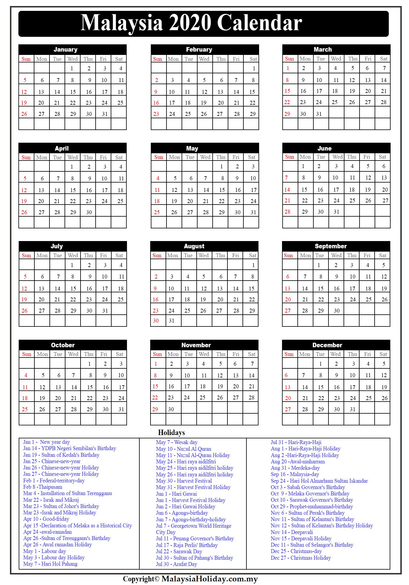 Printable Calendar Malaysia 2020