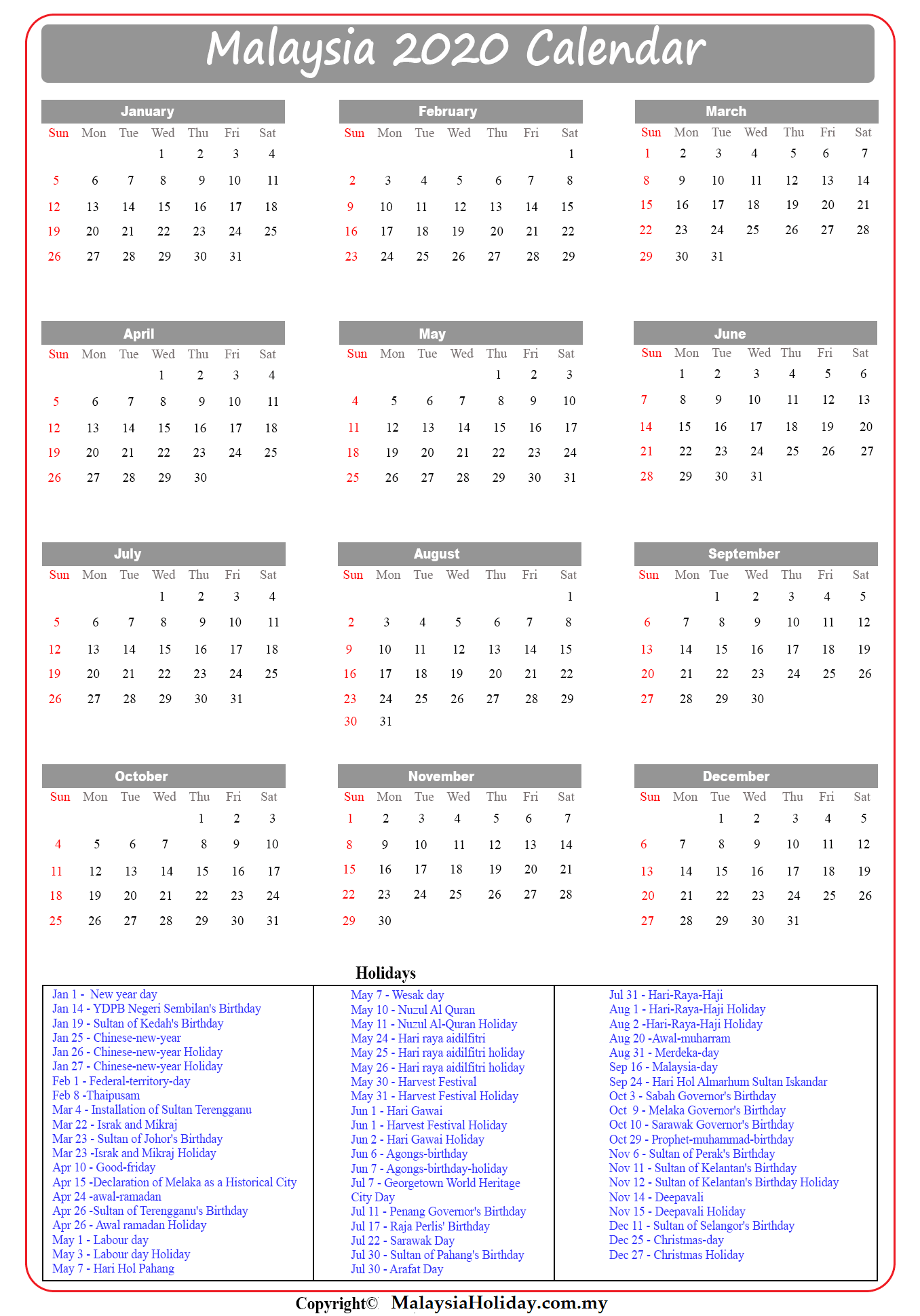 Public Holiday 2020 Malaysia