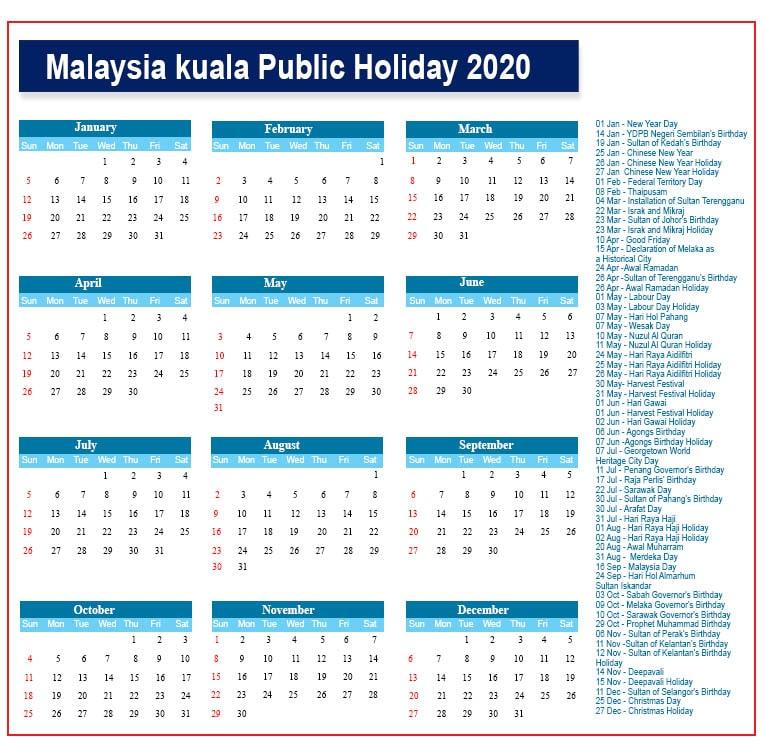 Public Holidays 2020 Kuala Lumpur