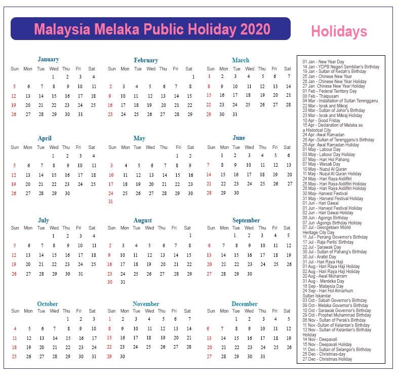 Public Holidays 2020 Melaka