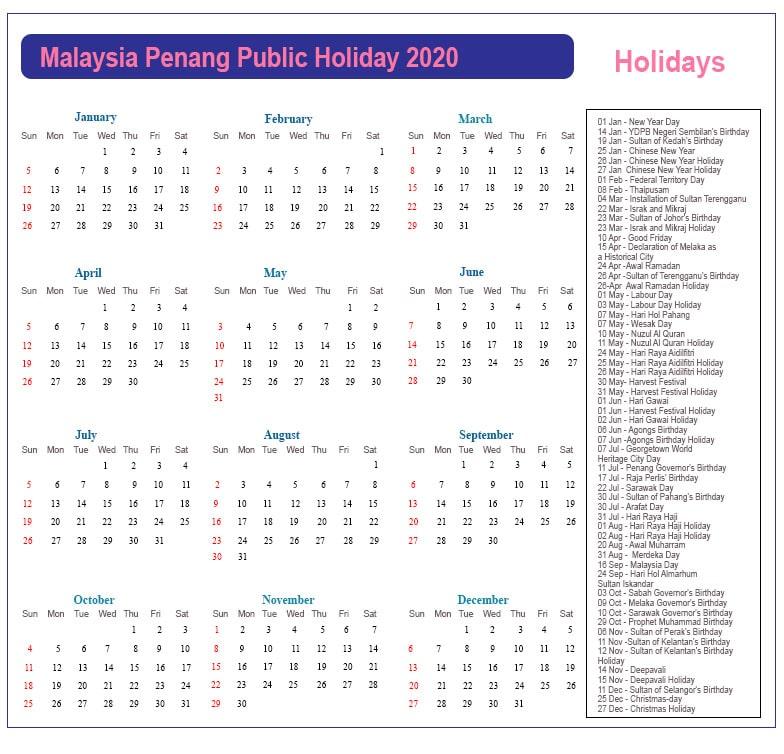 Public Holidays 2020 Penang