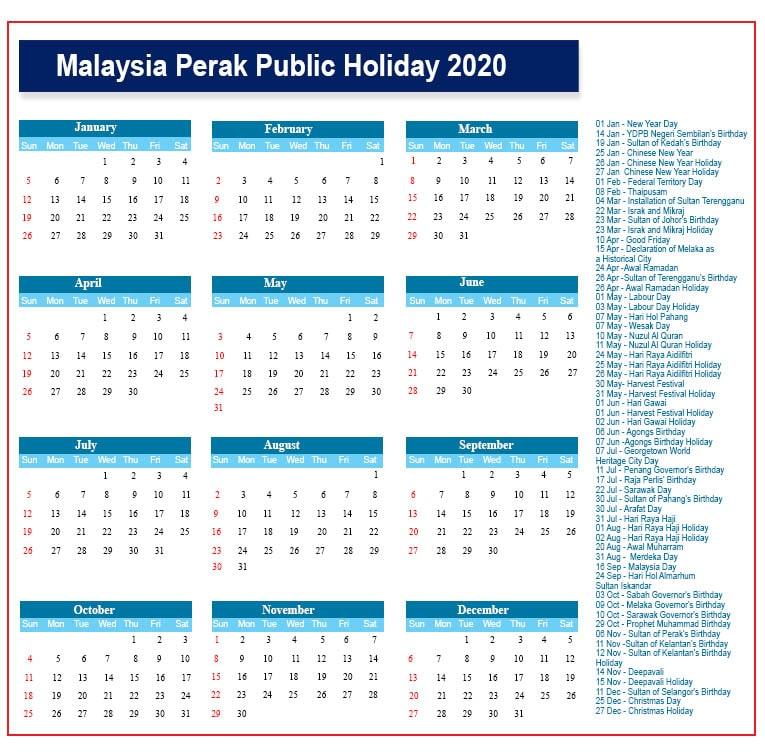 Public Holidays 2020 Perak