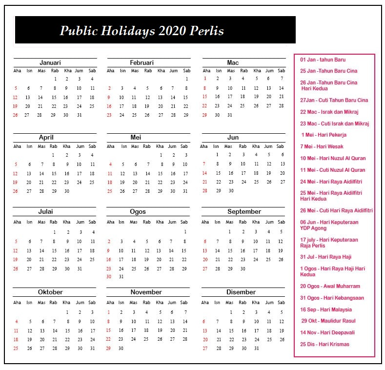 Public Holidays 2020 Perlis