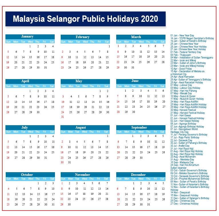 Public Holidays 2020 Selangor