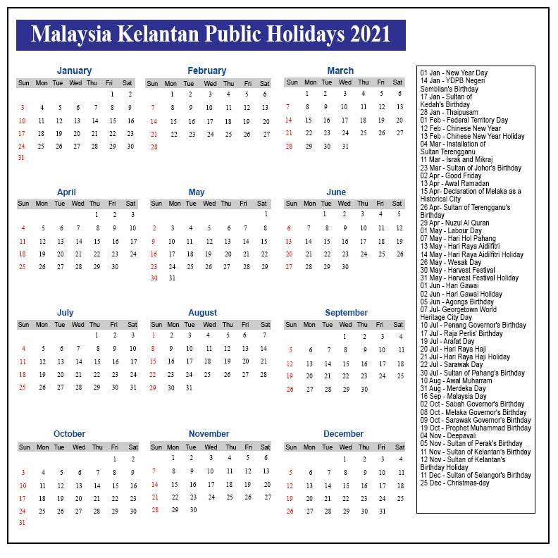 Public Holidays 2021 Kelantan