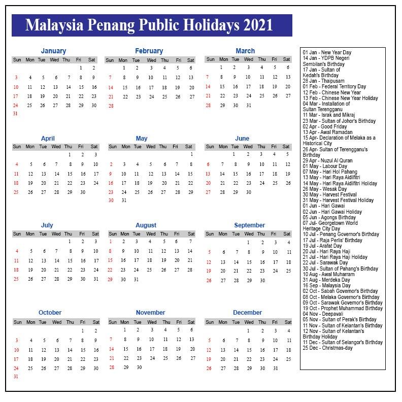 Public Holidays 2021 Penang
