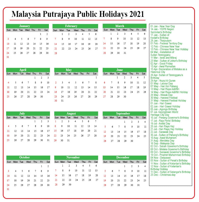 Public Holidays 2021 Putrajaya