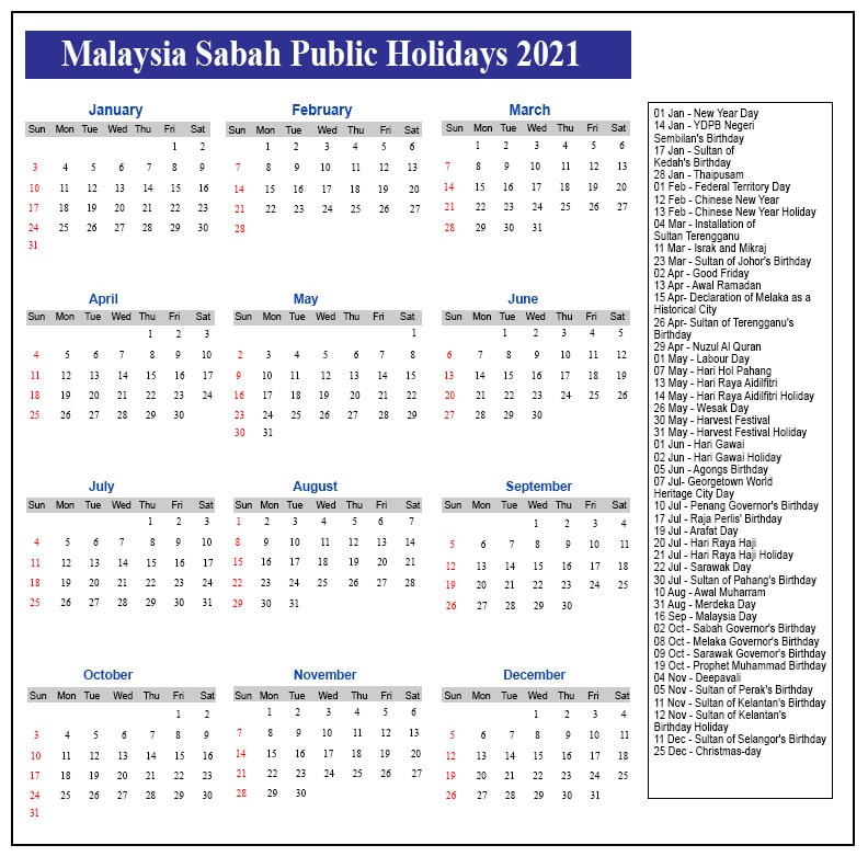 Public Holidays 2021 Sabah