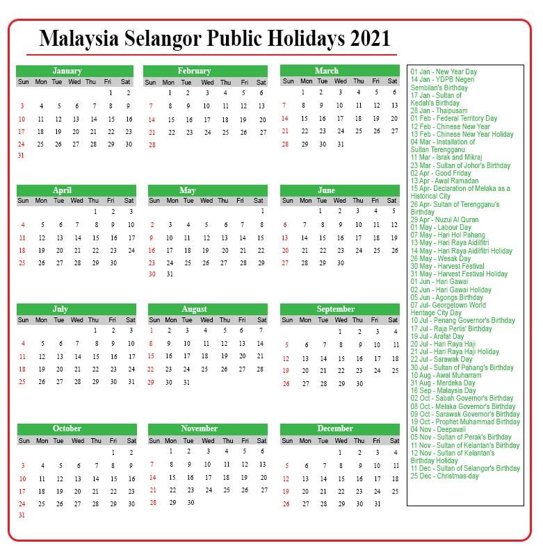 Public Holidays 2021 Selangor