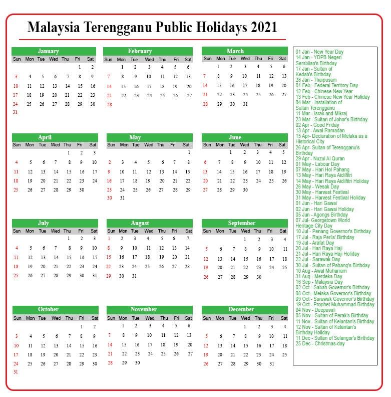 Public Holidays 2021 Terengganu