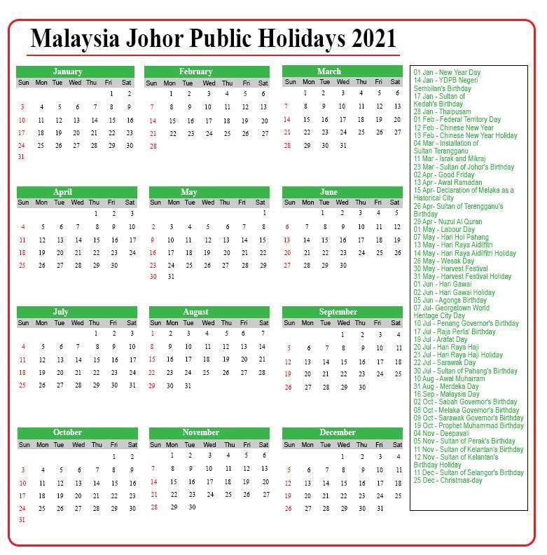 Johor Public Holidays 2021
