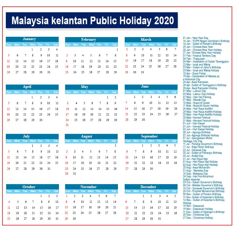 Kelantan Public Holidays 2020
