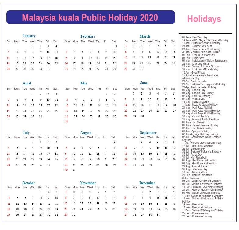 Kuala Lumpur Public Holidays 2020