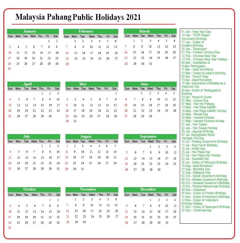 Pahang Public Holidays 2021