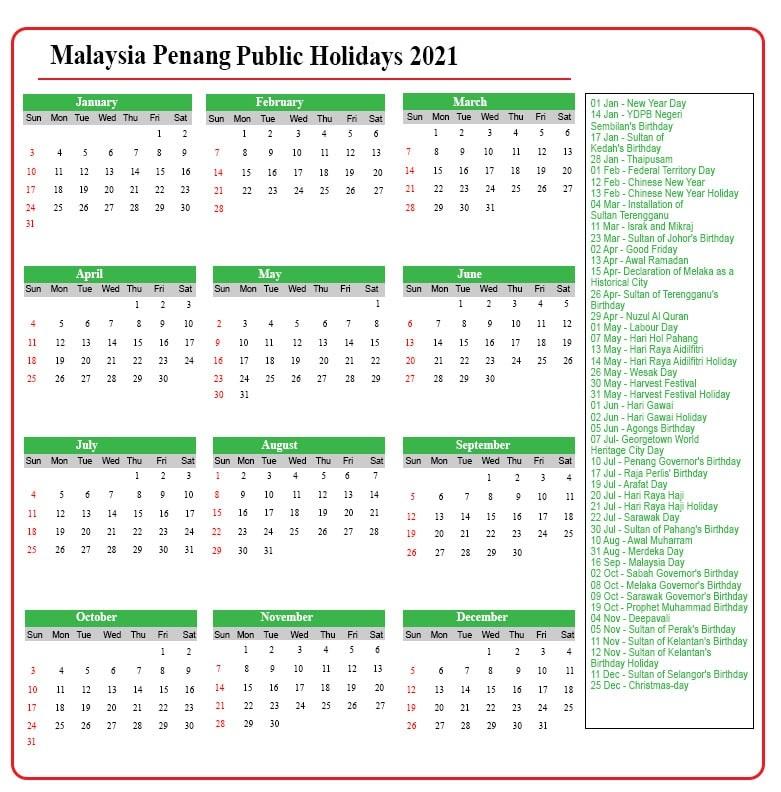 Penang Public Holidays 2021