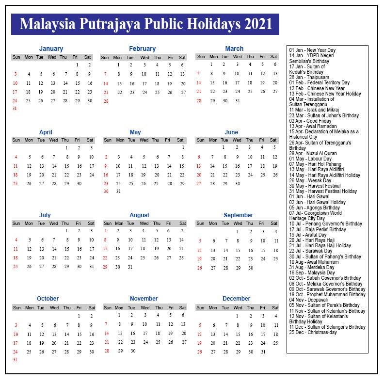 Putrajaya Public Holidays 2021