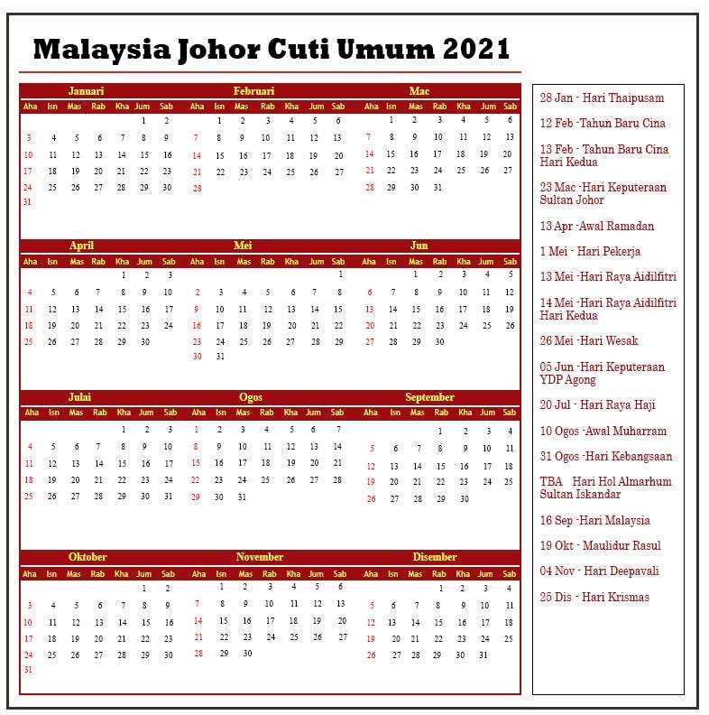 Malaysia Johor Cuti Umum 2021