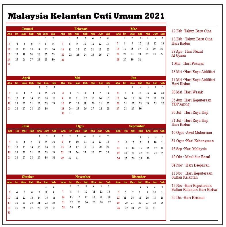 Malaysia Kelantan Cuti Umum 2021