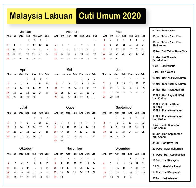 Malaysia Labuan Cuti Umum 2020