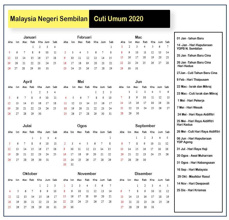 Malaysia Negeri Sembilan Cuti Umum 2020