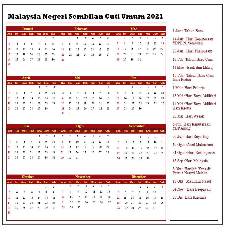 Malaysia Negeri Sembilan Cuti Umum 2021
