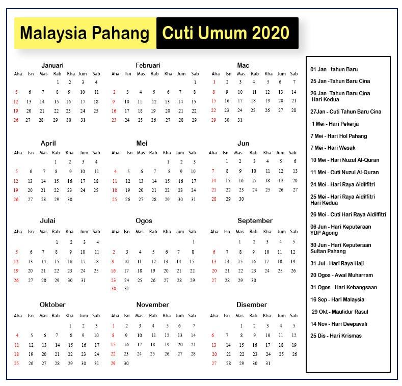 Pahang Cuti Umum Kalendar 2020