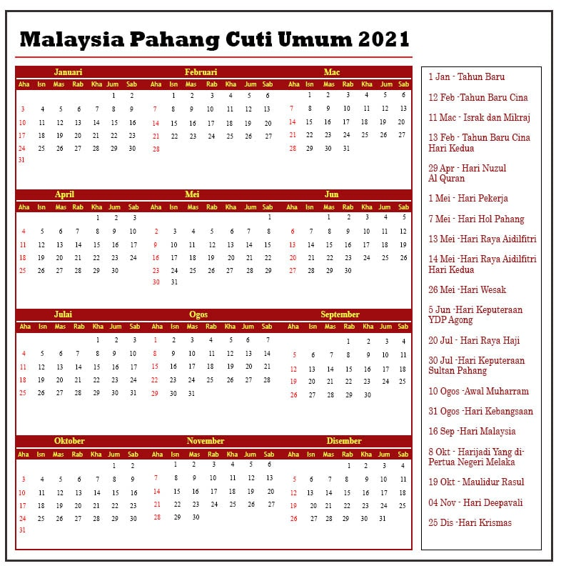 Malaysia Pahang Cuti Umum 2021