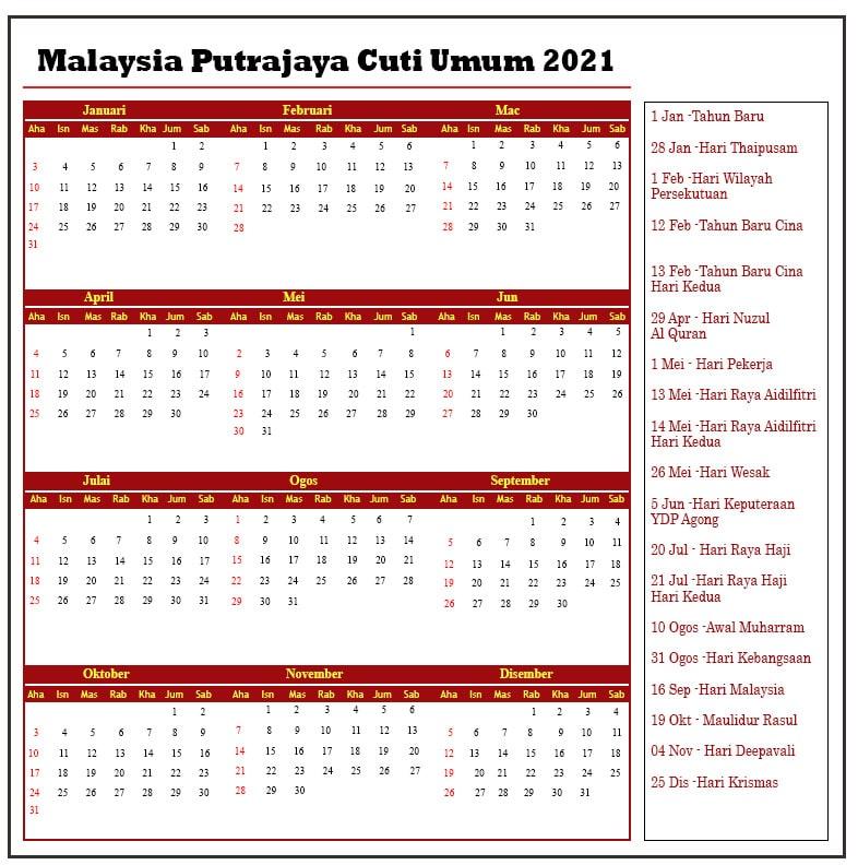 Malaysia Putrajaya Cuti Umum 2021