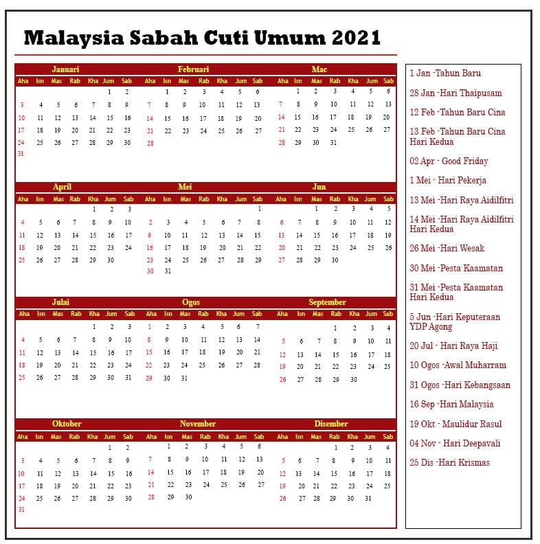 Malaysia Sabah Cuti Umum 2021