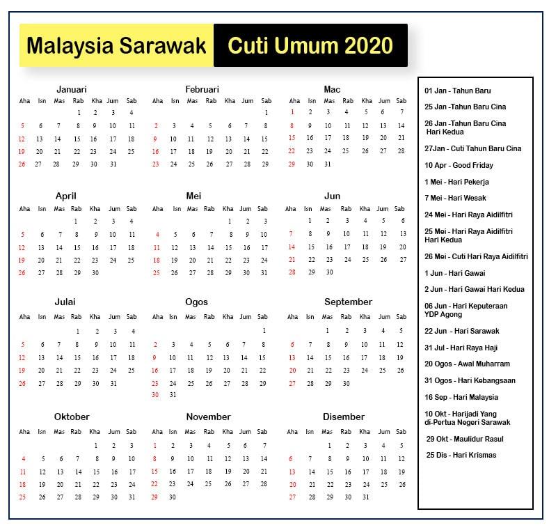 Malaysia Sarawak Cuti Umum 2020