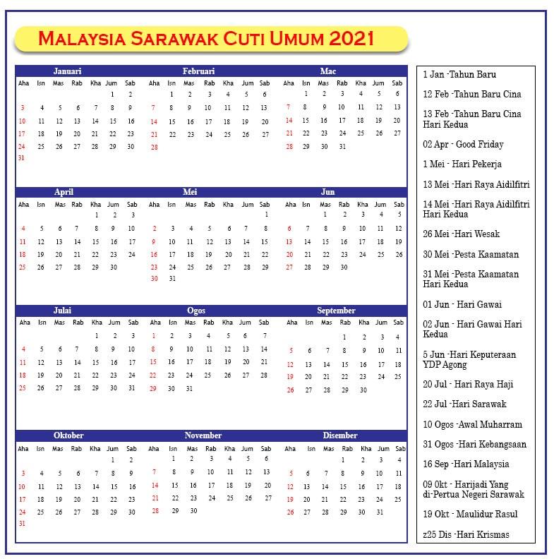Malaysia Sarawak Cuti Umum 2021