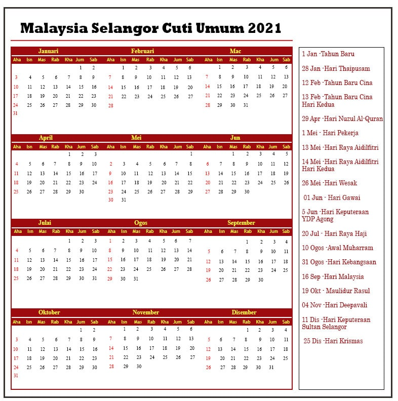 Malaysia Selangor Cuti Umum 2021