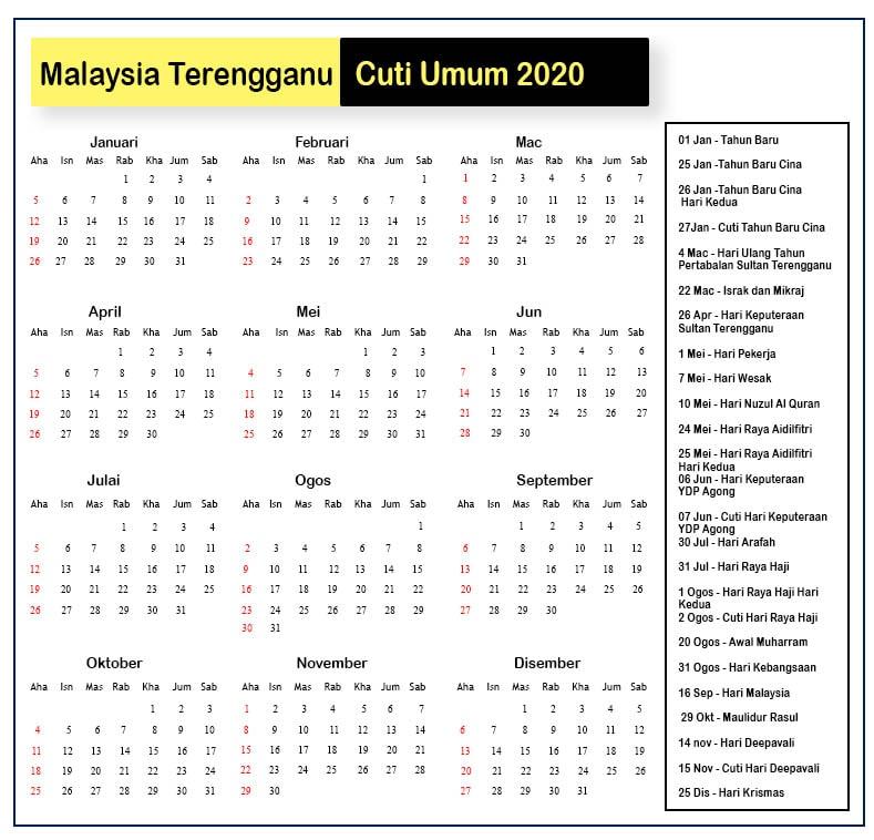 Malaysia Terengganu Cuti Umum 2020