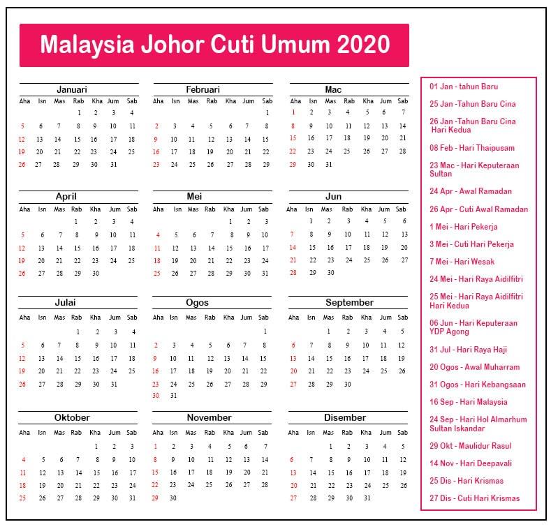 Johor Cuti Umum 2020