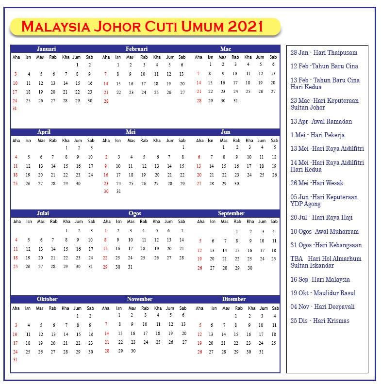 Johor Cuti Umum 2021