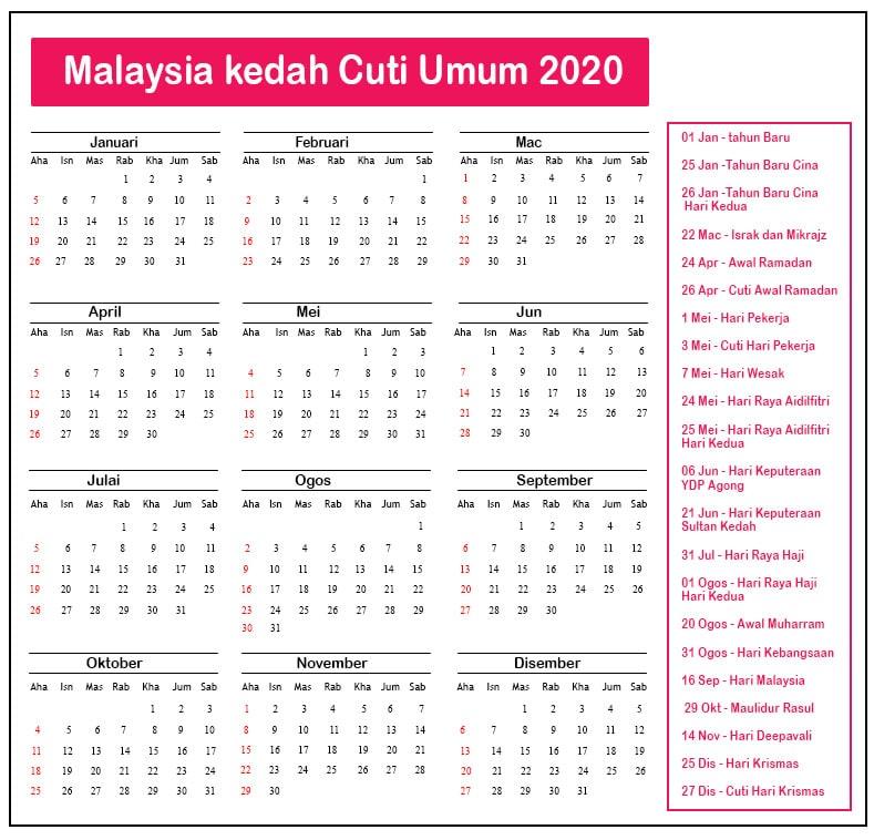 Kedah Cuti Umum 2020