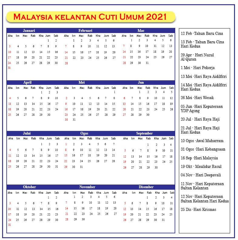 Kelantan Cuti Umum 2021
