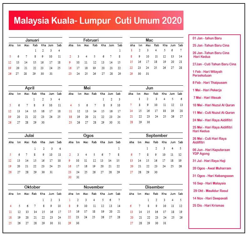Kuala Lumpur Cuti Umum 2020