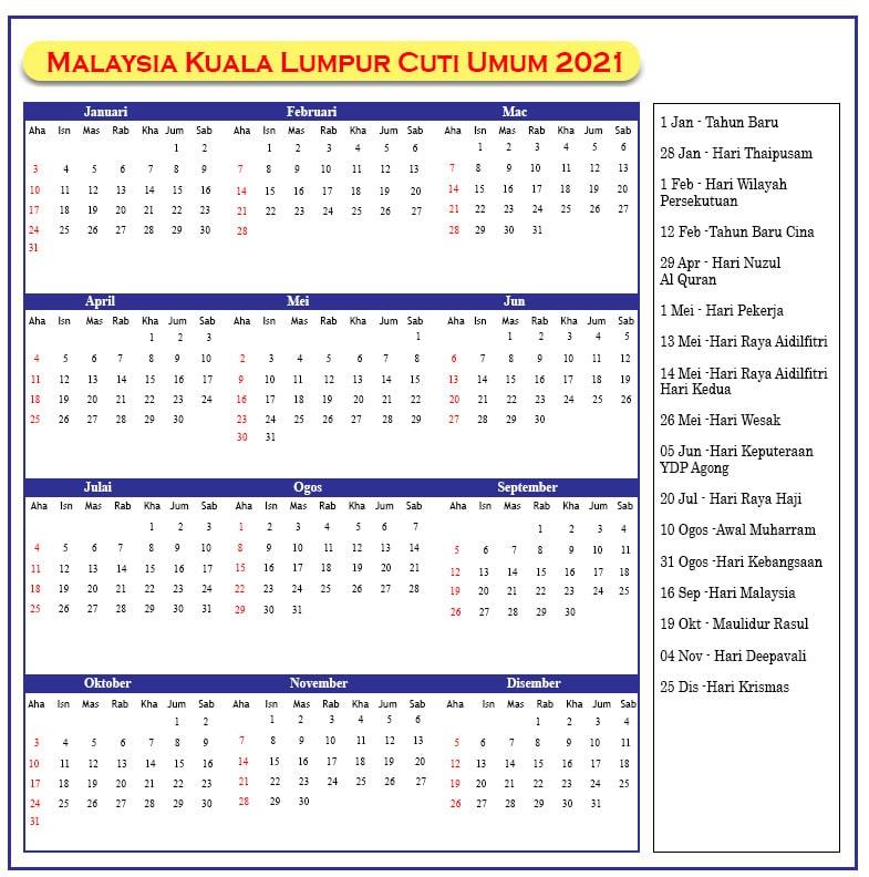 Kuala Lumpur Cuti Umum 2021