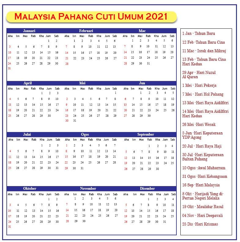 Pahang Cuti Umum 2021