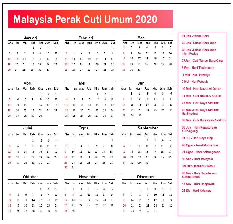 Perak Cuti Umum 2020