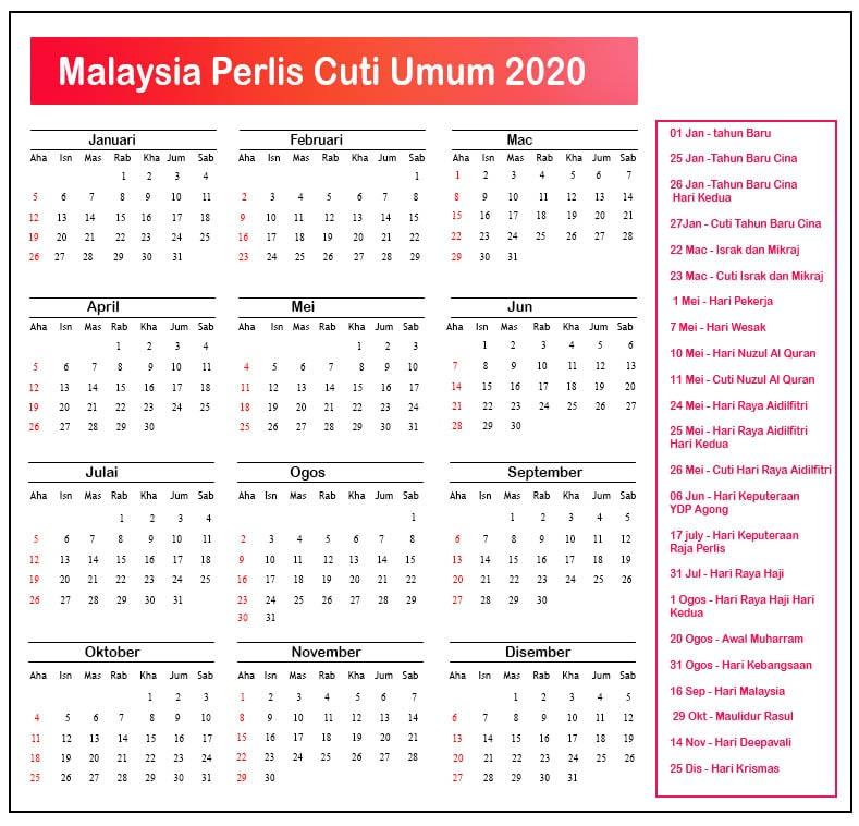 Perlis Cuti Umum Kalendar 2020
