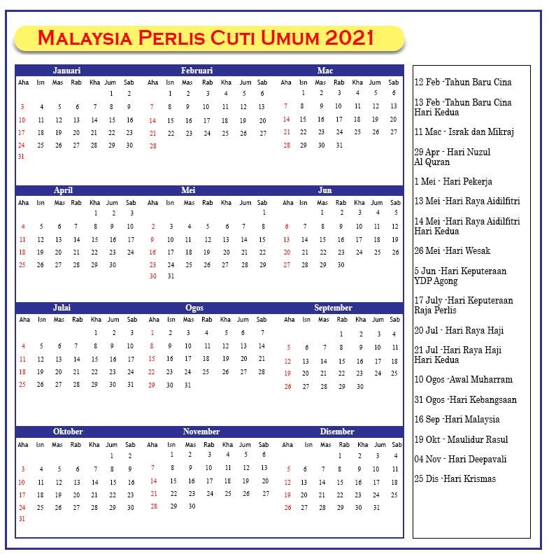 Perlis Cuti Umum 2021