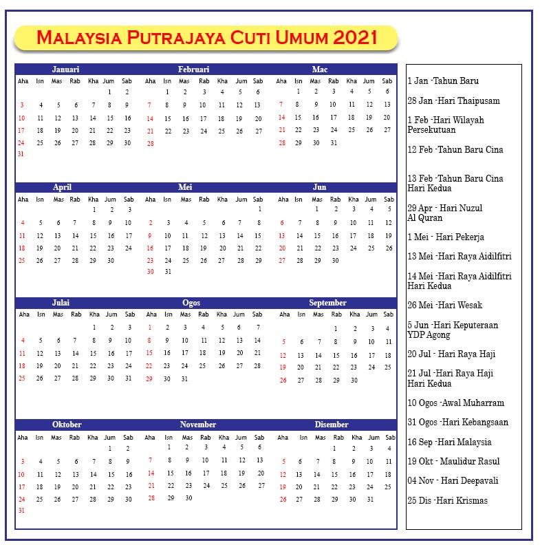 Putrajaya Cuti Umum 2021