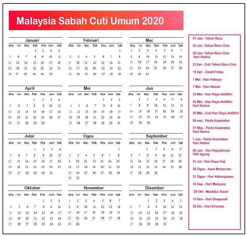 Sabah Cuti Umum 2020