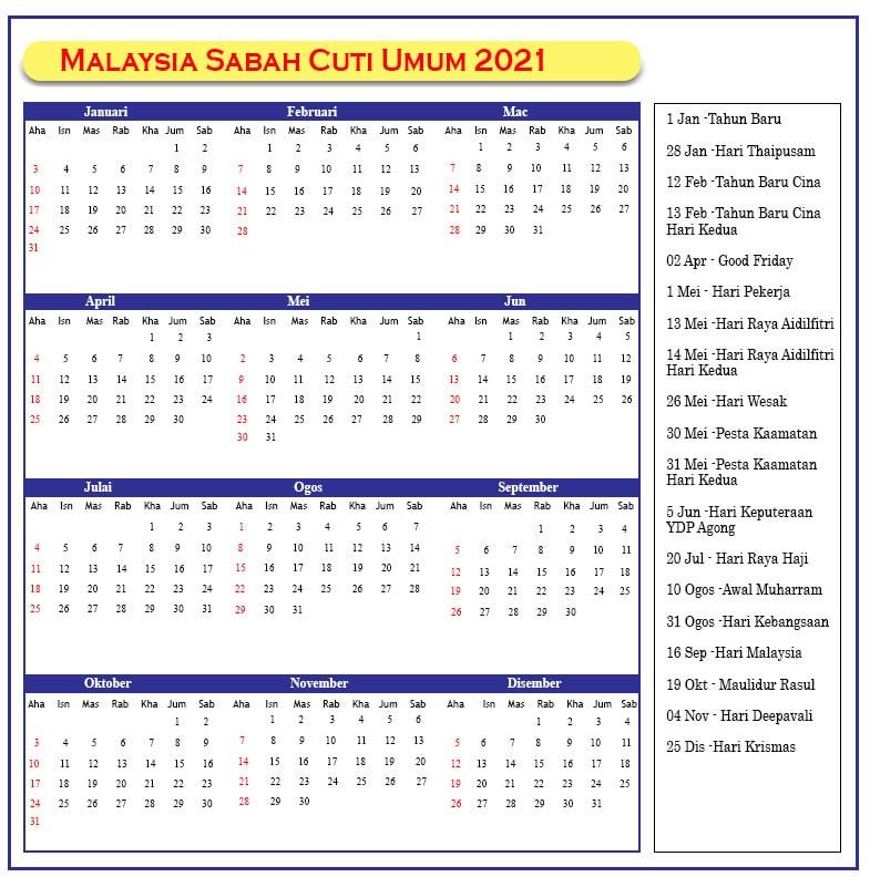 Sabah Cuti Umum 2021